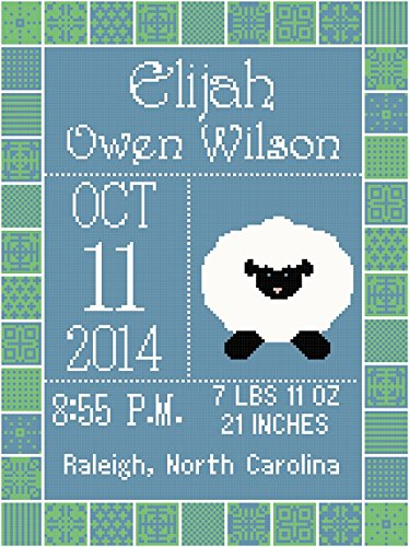 (Pattern Only Lamb Birth Record/Announcement Wall Art Cross Stitch Pattern For Boy)