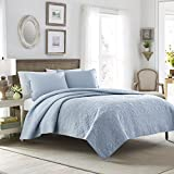 Laura Ashley Felicity Quilt Set, Breeze Blue, Full/Queen