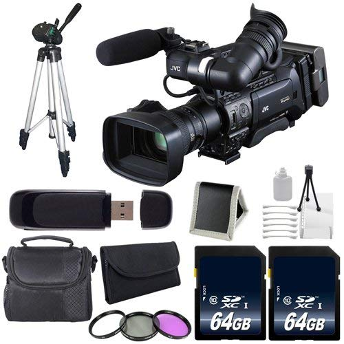 JVC GY-HM850 ProHD Compact Shoulder Mount Camera with Fujinon 20x Lens (International Model) + 64GB Memory Card + Full Size Tripod + Deluxe Starter Kit Bundle (Tripods For Digital Cameras Jvc)