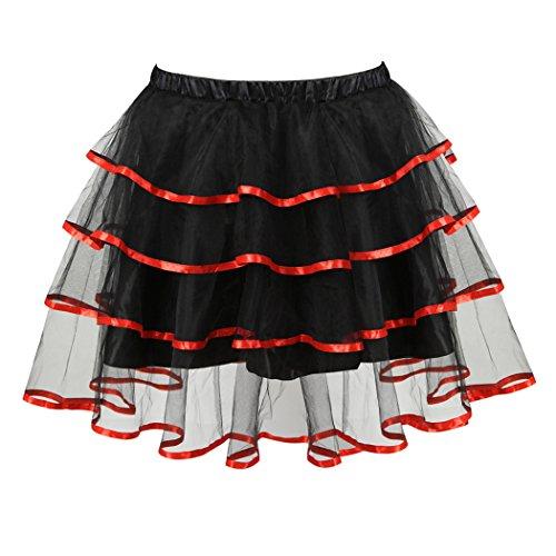 Mini Rosso Da Più Soffici Principessa Ballerina Vestito Gonna Partito Di Della Femminile Sottoveste Tutu Strati Organza ZqnUdY