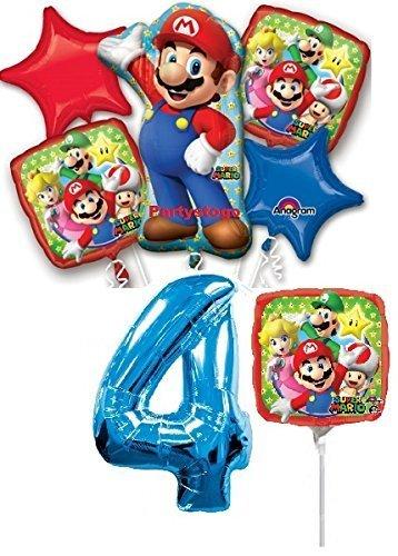 Amazon.com: Mario Bros 4th cumpleaños ramo de globos con ...