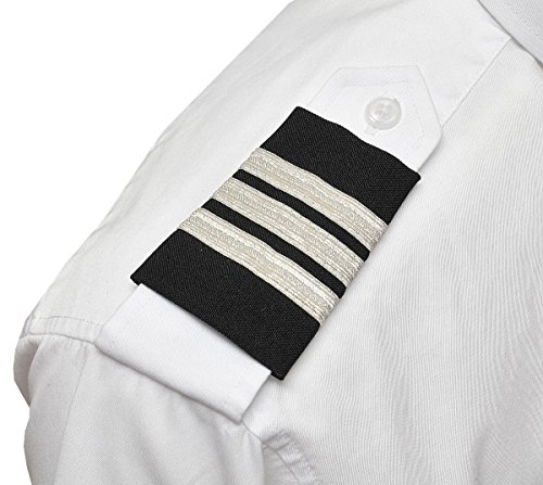 Aero Phoenix Professional Pilot Uniform Epaulets - Three Bars - First Officer - Silver Metallic on Dark Navy