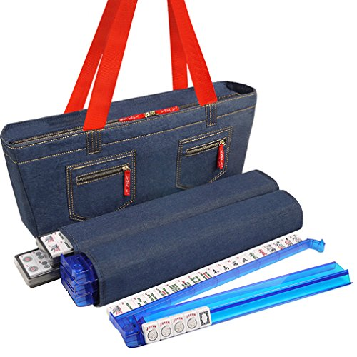 NEW! - American Mah Jongg Set by Linda Li - 166 Premium White Tiles, 4 All-In-One Rack/Pushers, Denim Blue Soft Bag - Stylish Full Size Complete Mahjong Set by American-Wholesaler Inc.
