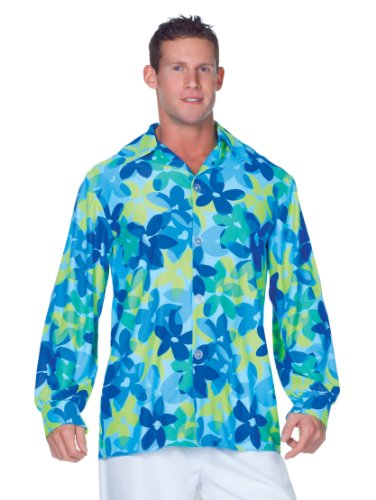 Last Minute Sports Halloween Costumes (Underwraps Men's 60's Flowers Shirt, Blue/Green, X-Large)