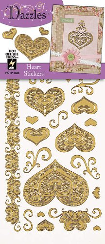HOTP Heart Outline Stickers in Gold