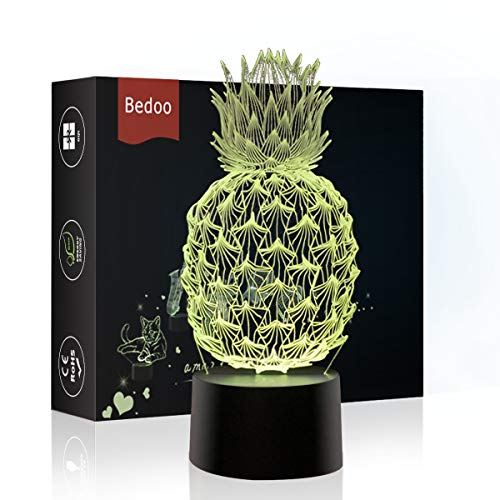 NChance LED Night Lights 3D Illusion Pineapple Lamp 7 Colors Changing Sleeping Lighting with Smart Touch Button Cute Halloween Gift Warming Birthday Present Creative Decoration Ideal Art and Crafts