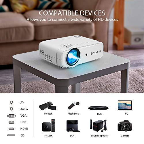 """VANKYO Leisure 430 (2020 Upgraded ) Projector, Mini Video Projector with 50,000 Hours LED Lamp Life, 236"""" Display, Support 1080P, HiFi Built-in Speaker, Compatible with HDMI, SD, AV, VGA, USB"""