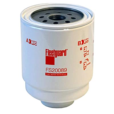 "Fleetguard FS20089 Water/Fuel Separator For Dodge 68197867AA, 99.9 Emulsified/Free Water Separation, 1""D Class 2B Thread, 14 Thread/Inch, 5.504""H x 4.248""OD: Automotive"