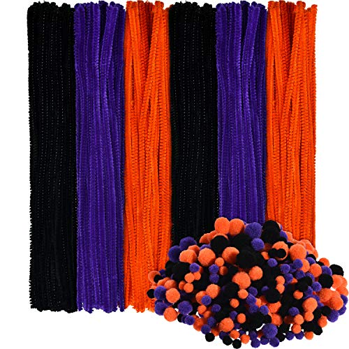 150 Pieces Halloween Pipe Cleaners Chenille Stems and 500 Pieces Pom Poms for Halloween Craft Party
