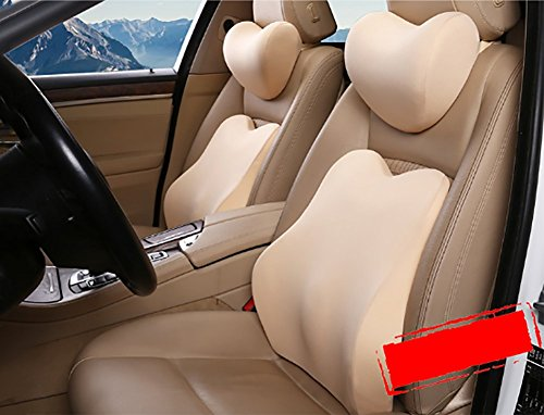 BMDHA Car Neck Support Lumbar Support Breathable Super Comfortable Memorycotton Cushion (Set),Yellow