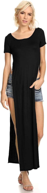 Women's Tshirt Double Deep Side Split Slit Maxi Dress