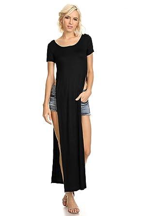 29703b69ce0 Women s Tshirt Double Deep Side Split Slit Maxi Dress at Amazon ...