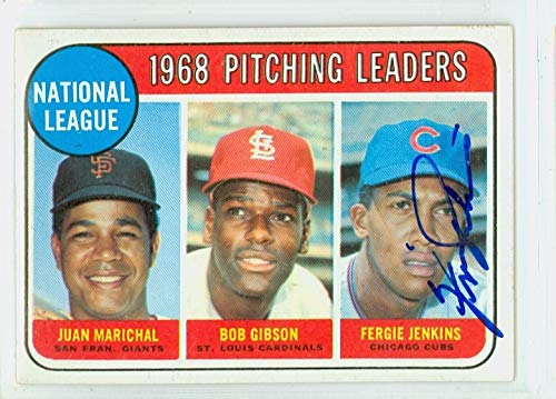 Ferguson Jenkins AUTOGRAPH 1969 Topps #10 NL Pitching Leaders Chicago Cubs CARD IS CLEAN EX/MT ()