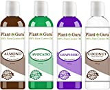 Carrier Oil Variety Set 4 oz Cold Pressed 100% Pure Natural Almond, Avocado, Coconut Fractionated, Grapeseed. For Aromatherapy Essential Oils, Skin & Hair Growth Moisturizer. Perfect for Body Massage.