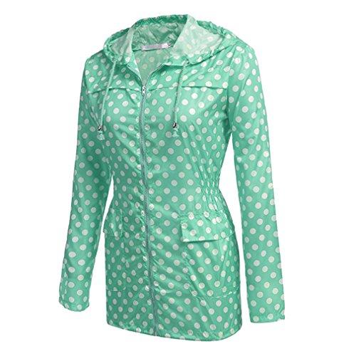 Leggera Impermeabile Donna Da Versatile Verde Weimeite Giacca Outdoor Antipioggia Cappotto Active Punto wXq6wdx
