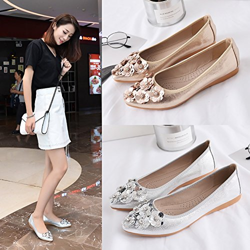 Rhinestone Silver 02 on Comfort Toe Shoes Pointed Soft Slip Flats Womens Foldable Ballet Flat Meeshine qwFO00