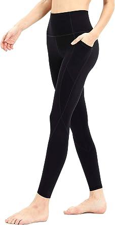 Persit High Waist Yoga Pants for Women Mesh Workout Running Yoga Leggings with Pockets