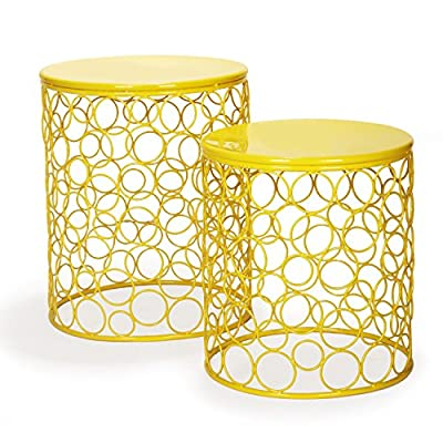 HOMEBEEZ Home Garden Accents Circle Wired Round Iron Metal Nesting Stool Side End Table Plant Stand, Hatched Diamond Pattern