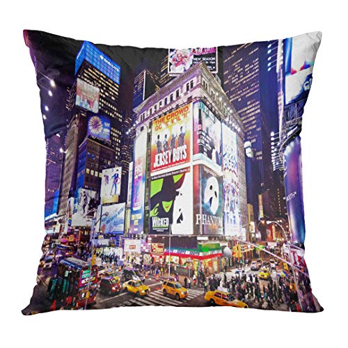 TOMKEYS Throw Pillow Cover City New York January 6 Illuminated Facades of Broadway Theaters on 2011 in Times NYC Night Street Decorative Pillow Case Home Decor Square 18x18 Inches Pillowcase