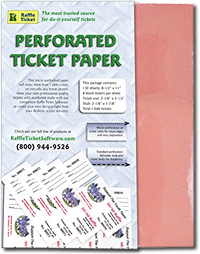 amazon com perforated ticket paper pink 24lb bond multipurpose