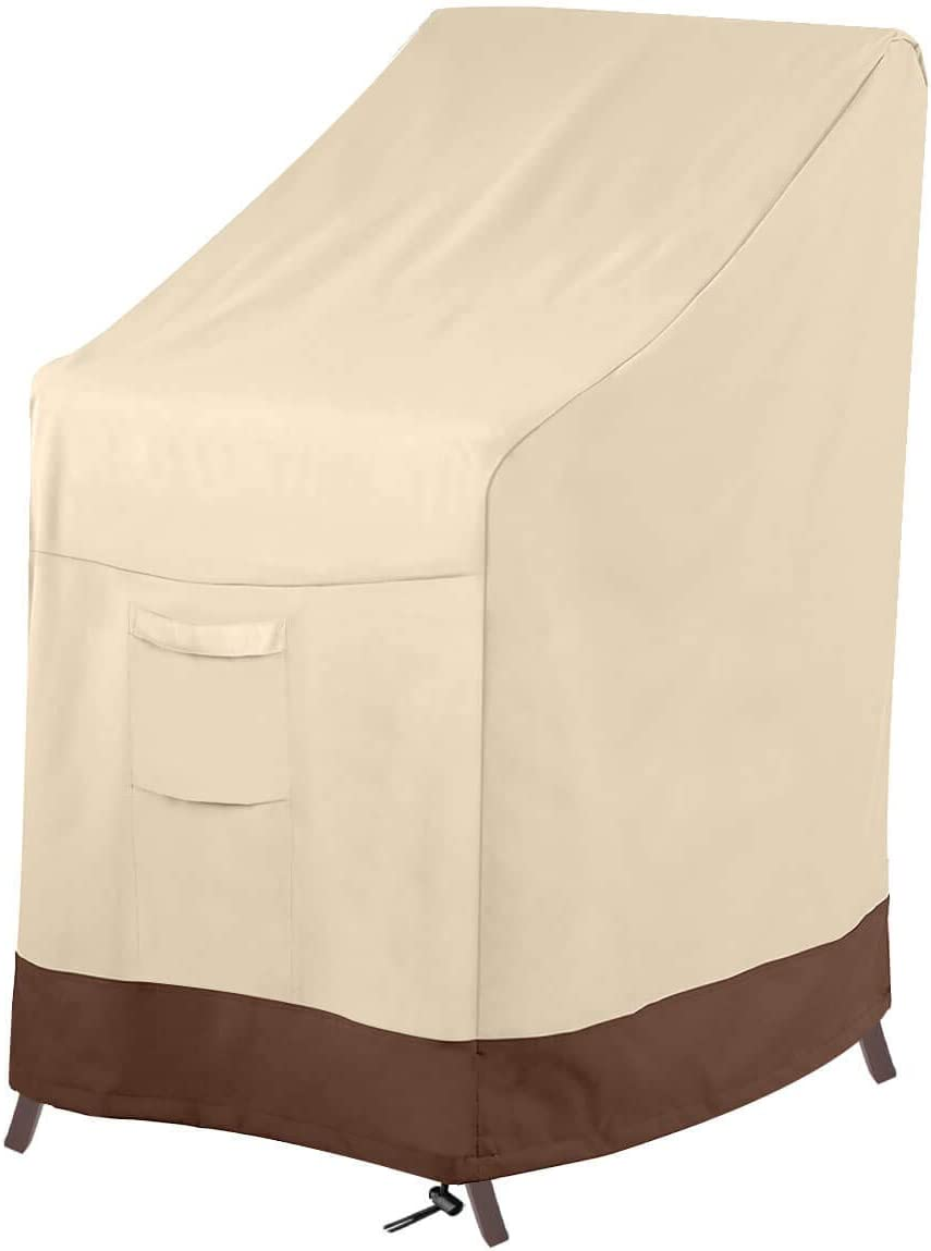 "Vailge Stackable Patio Chair Cover,100% Waterproof Outdoor Chair Cover, Heavy Duty Lawn Patio Furniture Covers,Fits for 4-6 Stackable Dining Chairs,36"" Lx28 Wx47 H,Beige&Brown"
