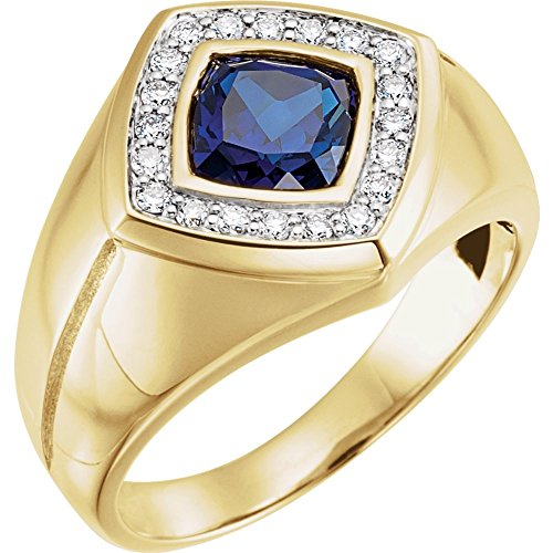 14k Yellow Gold Created Blue Sapphire and Diamond Mens Ring - Size 11 ()
