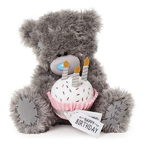 Me To You Tatty Teddy Bear with Happy Birthday Cupcake, Grey