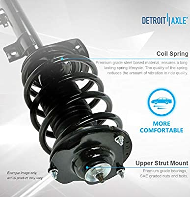 Detroit Axle Rear Shock Absorber and Front Sway Bars for 2007 2008 2009 2010 2011 2012 Nissan Sentra 2.0L ONLY 6PC Front Strut /& Coil Spring Assembly