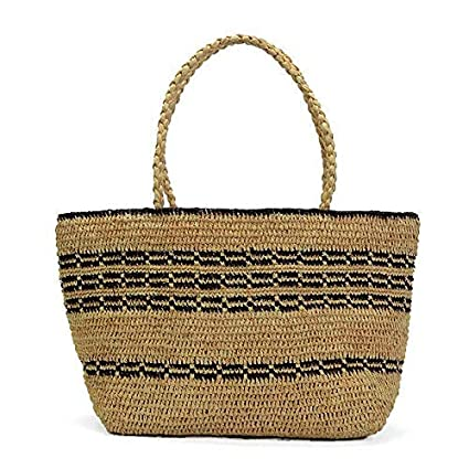 28c27a667cdb6 Image Unavailable. Image not available for. Color: DHmart Summer Beach Bag  French Style Straw ...