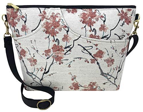 Danny K. Women's Tapestry Bag Shoulder Handbag, Large Zipper Purse Handmade in the USA (Cherry Blossom)