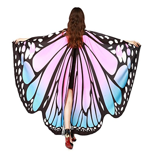 2017 New Womens Halloween Butterfly Wings Shawl Cape Scarf Fairy Poncho Shawl Wrap Costume Accessory (Pink)