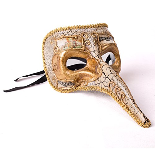 Veil Entertainment Music Notes Long Nose Mask, Gold, One-Size Adult (Music Masquerade Mask)