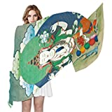 Vintage Distressed Tibetan Buddhist Thangka Women's Silky Scarf Shawl Wrap for Lady, 70.8'' Lx35.4 W