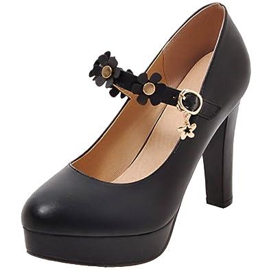 a6ec6a27f613a1 RAZAMAZA Damen Hochzeitsschuhe Pumps Plateau Schuhe mit Blume Black Gr 32  Asian