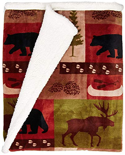 - Carstens, Inc Patchwork Lodge Soft Sherpa Plush Throw Blanket, Multi