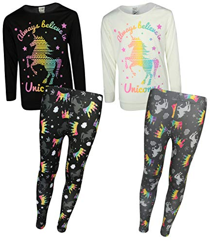 Sweet & Sassy Girls' 4-Piece Pajama Legging Set (2 Full Sets) (5/6, Believe in Unicorns)'