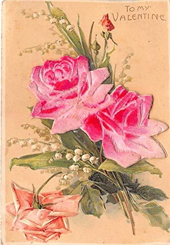 (Valentines Day Post Card Old Vintage Antique Postcard Felt Rose on card writing on back)