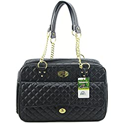 B-JOY New Dog Carrier Dog Handbag Dog Purse Pet Tote Bag Soft Sided Pet Carriers with Double Chain Handles Black