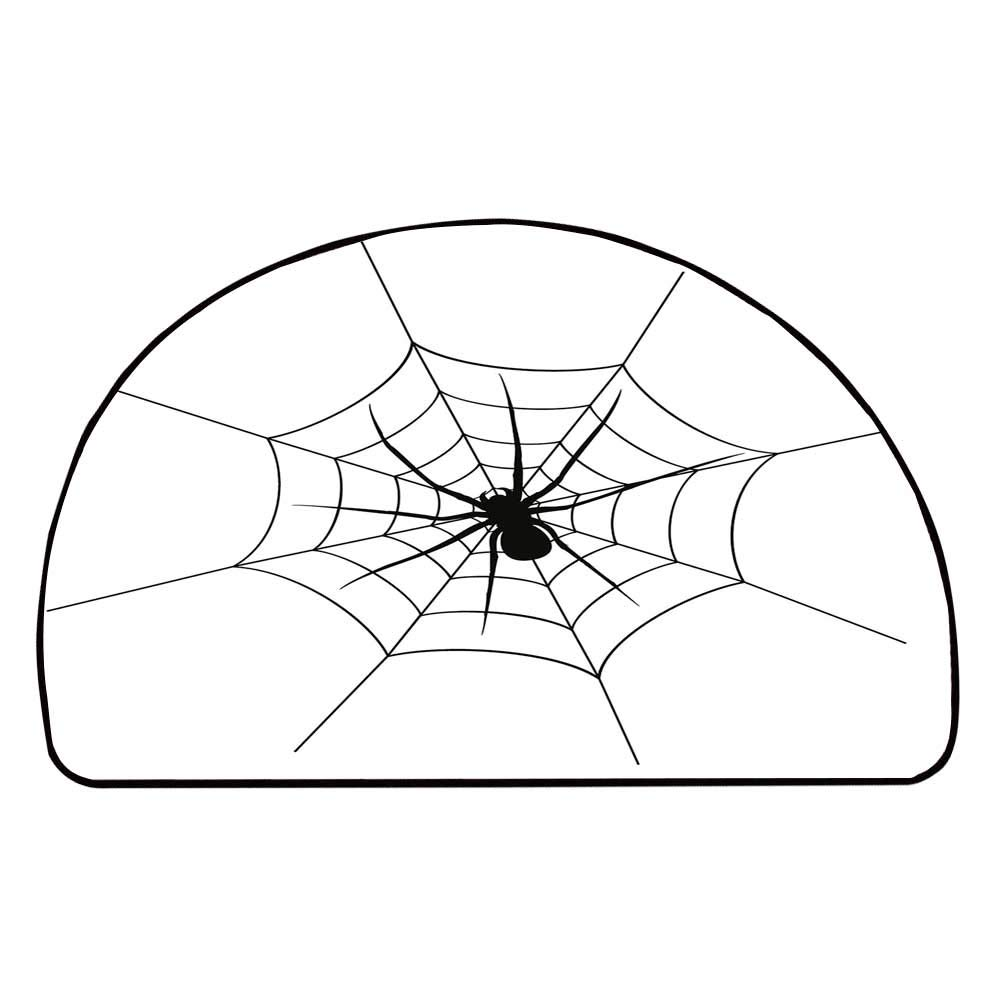 C COABALLA Spider Web Comfortable Semicircle Mat,Black Spooky Spider Weighs on a Web Creepy Crawly Organism Tangled Monochrome for Living Room,11.8'' H x 23.6'' L
