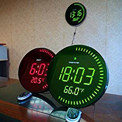Oversized LED Digital Clock - Table or Wall Clock Modern Design Home Decor - Great for Elderly People, Offices, Conference Rooms, Lobbies and Classrooms With Temperature - Huge 12 Inch - GREEN