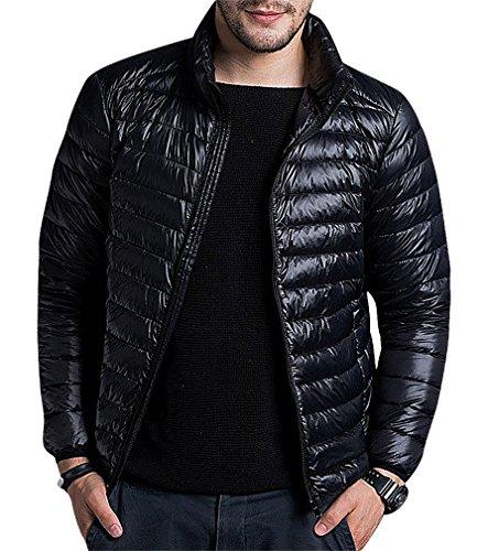 CELINO Men's 1 Color Quilted Pocketed High Neck Lightweight Zip Up Puff Jacket, Black M ,Manufacturer(XL)