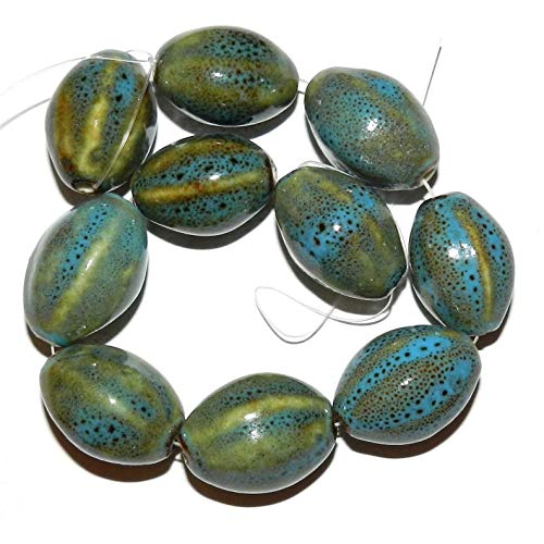 - Bead Jewelry Making Honey Brown & Aqua Blue Glazed Porcelain 22mm Fluted Oval Beads 8