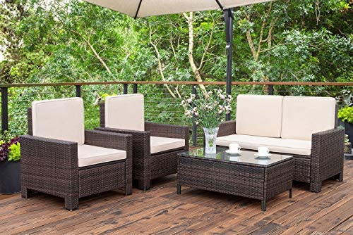 Homall 5 Pieces Outdoor Patio Furniture Sets Rattan Chair Wicker Conversation Sofa Set, Outdoor Indoor Backyard Porch Garden Poolside Balcony Use Furniture Beige