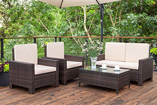 Homall 5 Pieces Outdoor Patio Furniture Sets Rattan Chair Wicker Conversation Sofa Set, Outdoor Indoor Backyard Porch Garden Poolside Balcony Use Furniture (Beige) - [Excellent Quality] - This rattan furniture is made of high quality steel frames with solid structure and cushions are made of high quality environmental protection material, comfortable sitting and bringing you special enjoyment. [Convenient And Cleaning] - Our wicker is strong and durable but also lightweight at the same time; cushion covers can be zipped off easily and then give them a quick wash to have them looking brand new. [Multiple Scenarios] - The glass covering the table is high quality tempered glass, you can put drinks, food, computer and any beautiful decorations on it. This wicker sets are stylish, easy-to-maintain, and versatile enough as to fit most of the space such like patio, garden, park, yard and more. - patio-furniture, patio, conversation-sets - 510kP3OdQtL -
