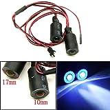 17mm 2 LEDs Angel Eyes & Demon Eyes LED Headlight /Back Light for 1:10 RC Model Crawler Cars, (Blue+White)