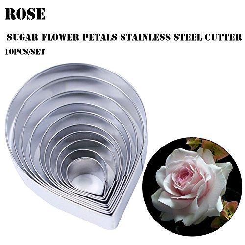 10 pcs Austin Rose Cutter Set Fondant Decor Kit Cake Decorating Gumpaste Flowers Set Rose Petals