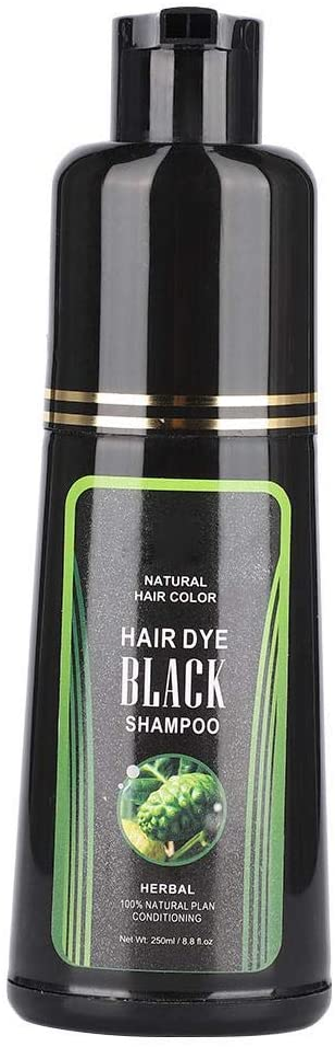 Champú natural para el cabello negro, champú para teñir el cabello con tinte de depilación blanca de 250 ml Champú instantáneo para el cabello para ...