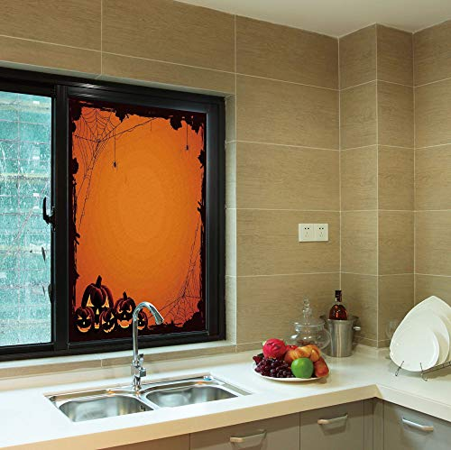 YOLIYANA 3D Antifouling Window Film,Halloween Decorations,for Toilet Bathroom Balcony,Grunge Spider Web Pumpkins Horror Time of Year,24''x36'' ()