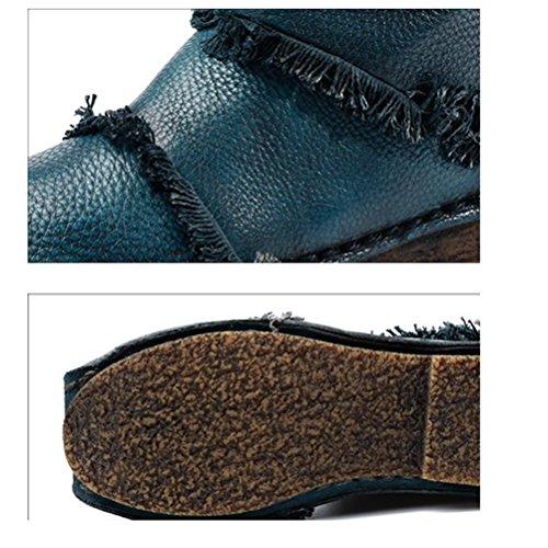 cerniera metro donna scarpe QPYC retro pelle quindi originale Stivali da con artigianali Stivali Stivali con stivali pennello in martellata blue da tonda al velvet donna con vera Ir1rzx