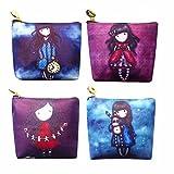 Set of 4 Womens Girls Gift Mini Wallet Cute Cartoon Print Lovely Girls Pattern Key Pouch Card Holder Coin Purse Money Pouch Zipper Pocket for Women Kids Teen Girls